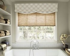 Geometric gray and white Casual faux roman shade valance over window with woven roller shade- Carlo Home Decor- Bathroom Window Coverings, Bathroom Window Curtains, Bathroom Windows, Drapes Curtains, Valances, Kitchen Windows, Bathroom Blinds, Burlap Curtains, Farmhouse Window Treatments
