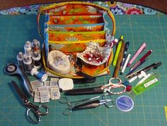 I love the name of this little sewing grab-bag! It delivers too. it can hold everything but the kitchen sink and I don. Sew Bags, Grab Bags, Kitchen Sink, Organizers, Fiber Art, Gears, Totes, Stitching, Sewing Projects