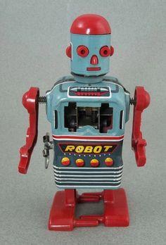 Vintage LINE MAR Japan Walking Space Man Tin Wind-up Robot Toy