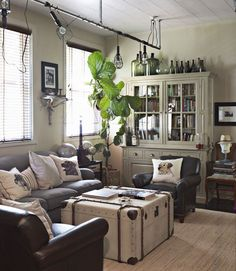 Add plants to your living room. Houseplants freshen and filter the air in your home. Plus the green brings life to rooms that have been bundled up for months.