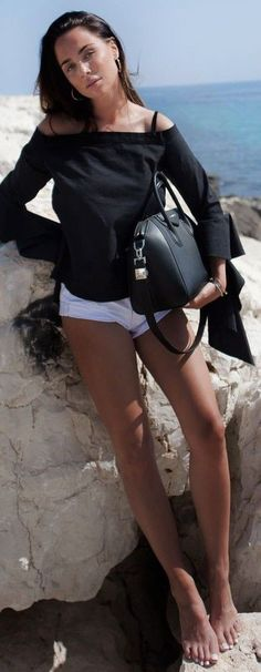 #summer #popular #outfitideas Black Off The Shoulder Top + White Shorts