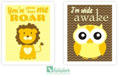 """This art print set is inspired by Katy Perry's hit songs """"Wide Awake"""" and """"Roar."""" If only the little ones would fall right to sleep at bedtime. This set is perfect for bleary eyed mommies and daddies who love to laugh! Perfect for the nursery!"""