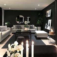 Black walls in living room Home Room Design, Home Decor Inspiration, Small Living Room Decor, Room, Black Walls Living Room, Apartment Living Room, Glamourous Dining Room, House Interior, Living Room Designs