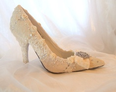 Wedding Day Fantasy Shoes.. bespoke bridal shoes hand crafted with vintage lace and Swarovski crystals