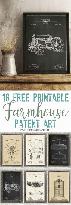 Color Engineer Prints: DIY great art on a budget!Color Engineer prints wrapped around the foam sheet and with command stripsFarmhouse Patent Art (and surprise bonus printouts)Farmhouse Patent Art and Surprise Bonus Printables 18 free printable Diy Vintage, Shabby Vintage, Vintage Wall Art, Vintage Walls, Vintage Posters, Bedroom Vintage, Style Vintage, Vintage Crafts, Vintage Decor