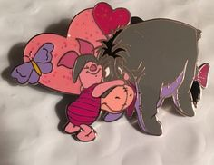 Walt Disney World Eeyore Pin Trading Collection 03 Piglet Heart Butterfly Badge