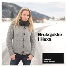 Bruksjakke i Hexa - Design by Marte Helgetun Knitting Designs, Knit Crochet, Men Sweater, Turtle Neck, Sweaters, Crocheting, Fall, Fashion, Mars