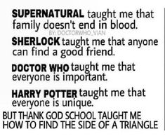 What Supernatural, Sherlock, Doctor Who, and Harry Potter taught me