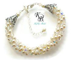 Bridal Bracelet, Pearl and Crystal Bracelet, Choice of Color, Wedding Jewelry, Kumihimo Jewelry, Swarovski Pearls, Swarovski Crystals