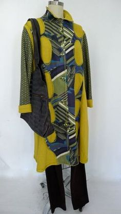 Vogue 1331 Mustard wool appliqued and pieced Koos Coat