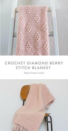 Free Pattern - Crochet Diamond Berry Stitch Blanket by helga Baby Afghan Crochet, Manta Crochet, Afghan Crochet Patterns, Crochet Stitches, Free Crochet, Knitting Patterns, Irish Crochet, Crochet Crafts, Crochet Projects