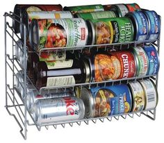 """Can Rack - - ivgStores- Deep capacity. Slim space-saving storage solution. Durable steel wire construction. Angled shelves for easy retrieval. Compact size fits most cabinets & pantry shelves. No tool assembly. Silver. Dim: 11.88""""H x 11.25""""W x 15.25""""D. 3 tier Specifications Sold By ivgStores"""