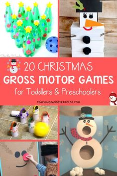 Christmas gross motor games are perfect for the holidays when your kids have lots of energy to burn. Would be fun for a party, too! #Christmas #holidays #largemotor #grossmotor #games #action #fun #kids #preschool #age3 #age4 #teaching2and3yearolds