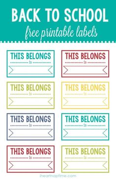 Back to school printable labels - this belongs to - bjl