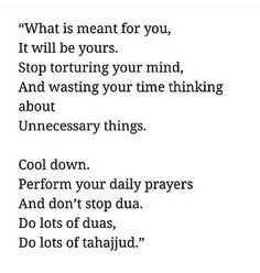 Stop torturing your mind by overthinking Trust Allah ! Hadith Quotes, Allah Quotes, Muslim Quotes, Religious Quotes, Reminder Quotes, True Quotes, Words Quotes, Qoutes, Sayings