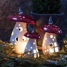 Lantern Gnome on Mushroom, H21cm