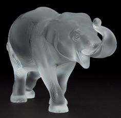 LALIQUE FROSTED GLASS ELEPHANT FIGURINE