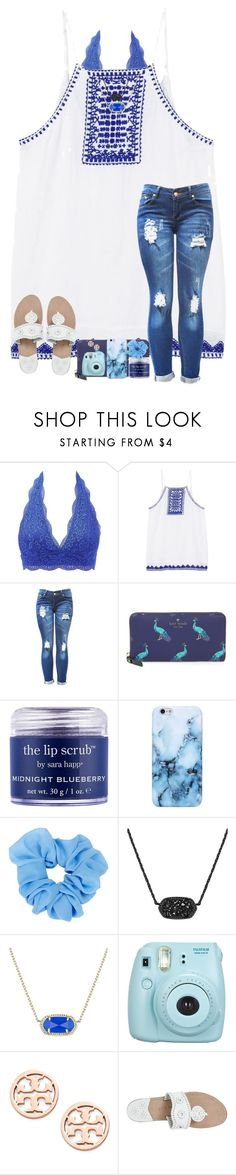 """Summer Blues Contest(:"" by arieannahicks on Polyvore featuring Charlotte Russe, MANGO, Kate Spade, Sara Happ, Kendra Scott, Fujifilm, Tory Burch and Jack Rogers"