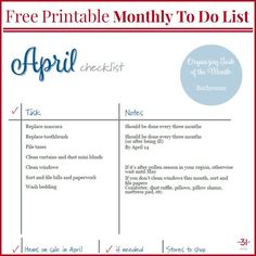 April To Do Checklist – Organized 31 – Home Maintenance To Do Checklist, Cleaning Checklist, Printable Activities For Kids, Free Printables, Home Management Binder, Time Management, Home Maintenance Checklist, Planner Organization, Organizing Tips
