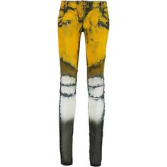 Balmain Printed low-rise skinny jeans ($796) ❤ liked on Polyvore featuring jeans, pants, yellow, skinny fit jeans, white denim skinny jeans, tie dye jeans, yellow jeans and low rise jeans