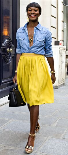 denim shirt + sunny skirt