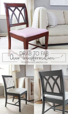 Drab to Fab Chair Makeover - Home Made By CarmonaYou can find Chair makeover and more on our website.Drab to Fab Chair Makeover - Home Made By Carmona Refurbished Furniture, Plywood Furniture, Home Furniture, Furniture Design, Office Furniture, Vintage Furniture, Furniture Removal, Furniture Movers, Furniture Chairs