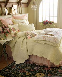 pink/cream bedroom-love the double bed skirt