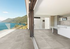 Porcelain stoneware outdoor floor tiles with stone effect PIETRA BAUGÉ Pietre Native Collection by Casalgrande Padana