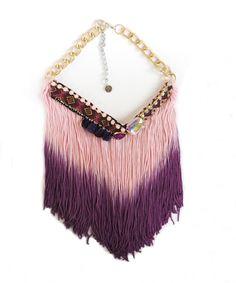 Unique fringe necklace, bohemian jewelry, big boho necklace, modern bohemian, big original necklace, festival necklace, bib necklace,pom pom by JewelryLanChe on Etsy #jewelry #etsy #necklace #fringe #bohemian
