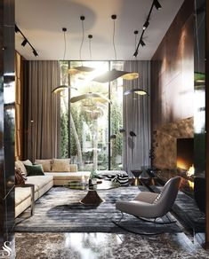 modern interior design Luxury modern Moroccan villa with high ceiling spaces, granite and bookmatched marble walls, contemporary furniture, modern chandeliers, and gold accent de Luxury Homes Interior, Luxury Home Decor, Modern Interior Design, Luxury Modern Homes, Luxury Hotels, Prairie Style Houses, Moroccan Interiors, Luxury Living, Modern Living