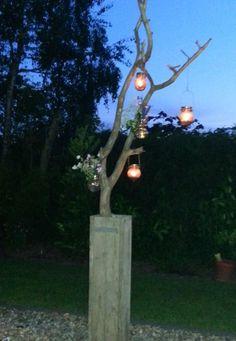 Gezellige zomeravonden. Mooie tak gevonden in het bos geplaatst in een hoge bak van oude steigerplanken (klaar in 10 min) Dream Garden, Garden Art, Home And Garden, Outdoor Crafts, Outdoor Decor, Allotment Gardening, Kirigami, Pallet Art, Autumn Wreaths