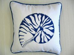 Blue Nautilus Pillow - Home By the Seashore - $46