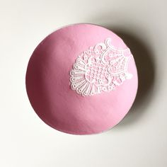 Jewellery Dish,     lace print, clay jewellery dish bowl by BetsyRoseJewellery on Etsy