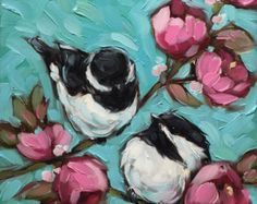 Reserved for Rebschaefer. Chickadee and Floral painting, Original impressionistic oil painting *Pre-Order Texture Painting, Painting & Drawing, Painting Frames, Acrylic Art, Bird Art, Painting Inspiration, New Art, Flower Art, Art Drawings