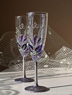 Purple Wedding Glasses ,Champagne Flutes, Vintage Wedding, Toasting Glasses…