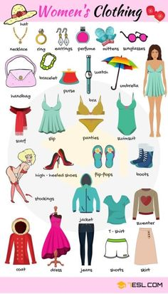 Women's Clothes Vocabulary Clothing Names with Pictures is part of English vocabulary - Women's Clothes Vocabulary! Learn women's clothing names with ESL printable pictures and examples to improve your English, particularly your clothes vocabulary English Verbs, Learn English Grammar, English Vocabulary Words, Learn English Words, English Phrases, English Language Learning, English Writing, English Study, Teaching English