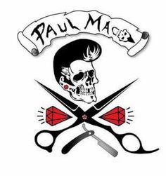 my logo old school barber rockabilly skull