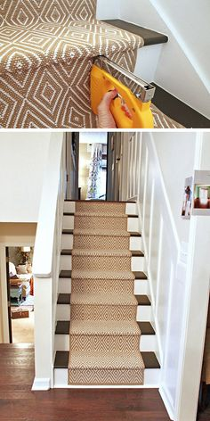 Looking to replace or add a stair runner? Heres an inexpensive option to pricey stair runners. You can see the full tutorial to add this stair runner over a… - Diy for Home Decor Style At Home, Stair Makeover, Painted Stairs, Stairways, My Dream Home, Home Projects, Home Remodeling, Small Spaces, Home Improvement
