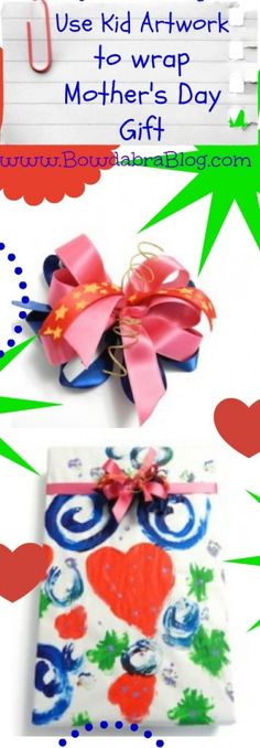 Featured in the Craft Showcase today --->Mothers Day Gift Wrap Kids ArtWork Bowdabra Bow
