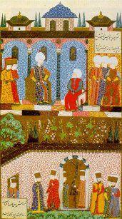 Süleymanname'den Arifi'nin bir minyatürü: Barbaros, Kanuni'nin huzurunda .