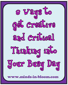 8 Fun Ways to get Creative and Critical Thinking into your Busy Day www.minds-in-bloo. Teaching Activities, Teaching Tools, Teacher Resources, Teaching Ideas, Teaching Art, Craft Activities, Future Classroom, School Classroom, Classroom Ideas