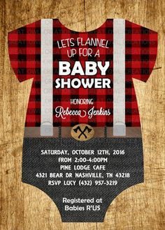 Lumberjack Baby Shower Invitation Buffalo by GreatOwlCreations