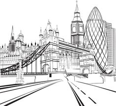 Coloriage de Londres - Tower bridge Big Ben et la City New York Drawing, City Drawing, Wave Drawing, Feuille A3, Big Ben, Art Alevel, Wood Boat Plans, Poses References, Perspective Drawing