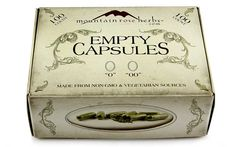 """100 count non-GMO vegetarian empty capsules in sizes """"0"""" and """"00""""!"""