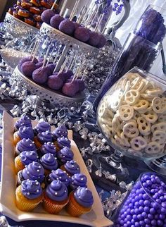 Mitzvah candy theme ideas #purple #batmitzvah #cupcakes #candy #cakepops