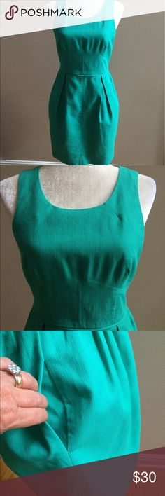 J. Crew Mint dress Lovely dress, lovely color.....fully lined dress has scoop neck, hidden side pockets, back exposed zipper. Excellent condition, just picked up from dry cleaners J. Crew Dresses