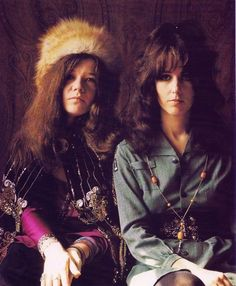 Janis Joplin and Grace Slick photographed by Jim Marshall in 1967 - two music goddesses together!