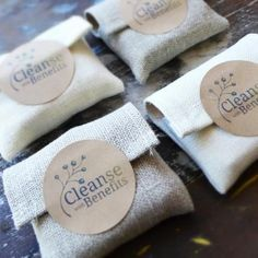 Nice simple packaging for soap. Burlap bag and sticker
