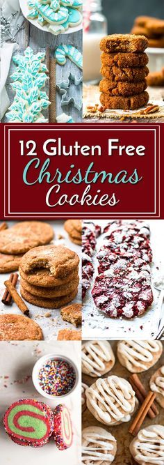 12 Gluten Free Christmas Cookies   All of the gluten free cookie recipes you need for the holiday season... from snickerdoodles to cut-out sugar cookies, this list has got them all!