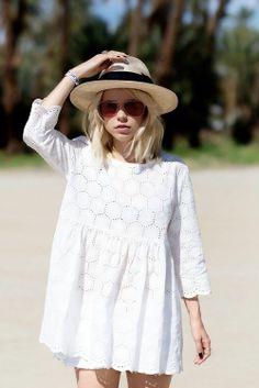 Little white dress + straw hat